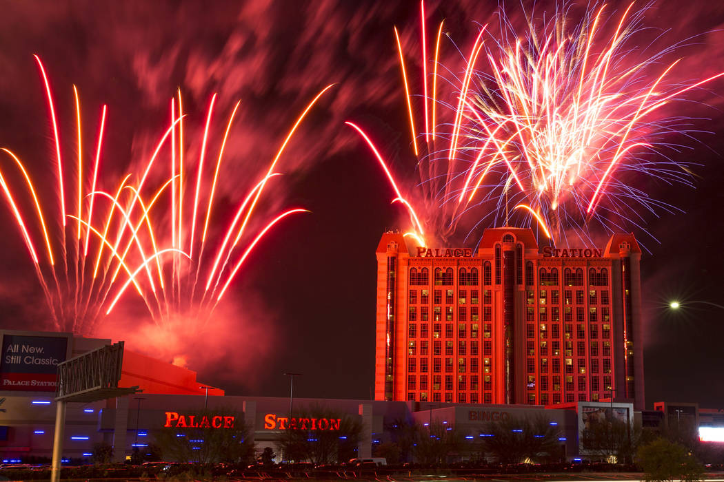 Fireworks explode during at of Palace Station in Las Vegas. (Richard Brian/Las Vegas Review-Journal) @vegasphotograph