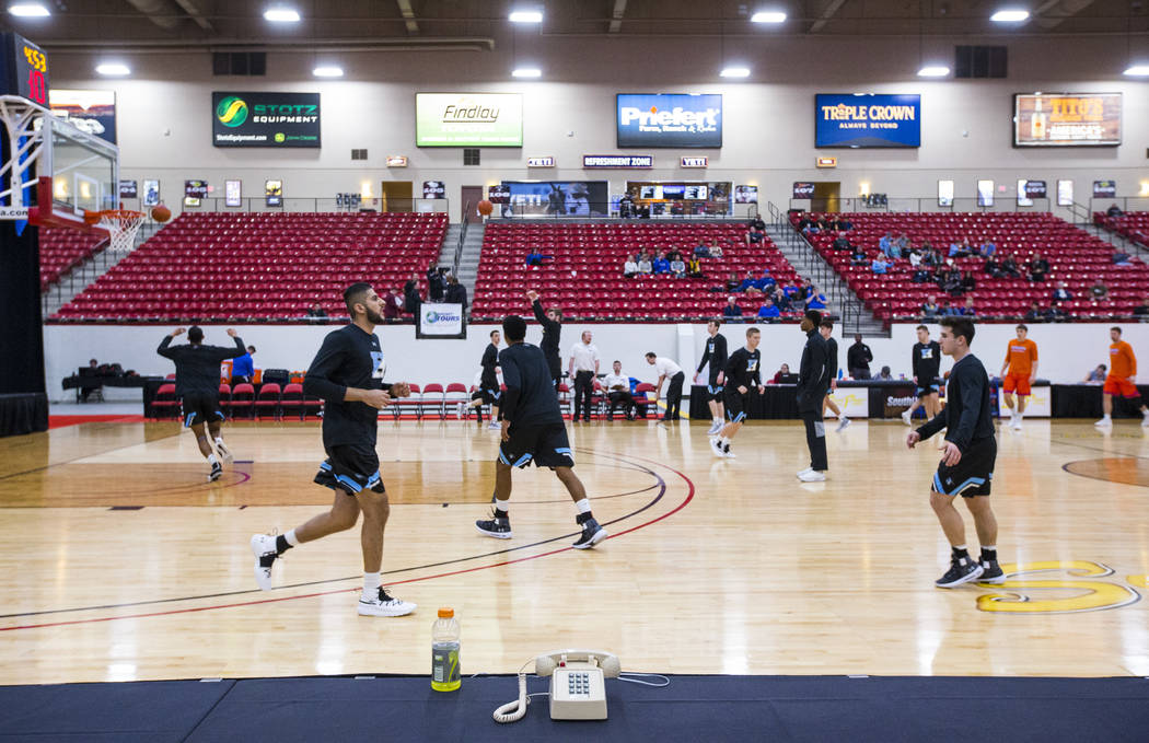 Johns Hopkins basketball players warm up before playing UW-Plattevillle in a basketball game in the D3Hoops.com Classic at South Point in Las Vegas on Friday, Dec. 28, 2018. Chase Stevens Las Vega ...