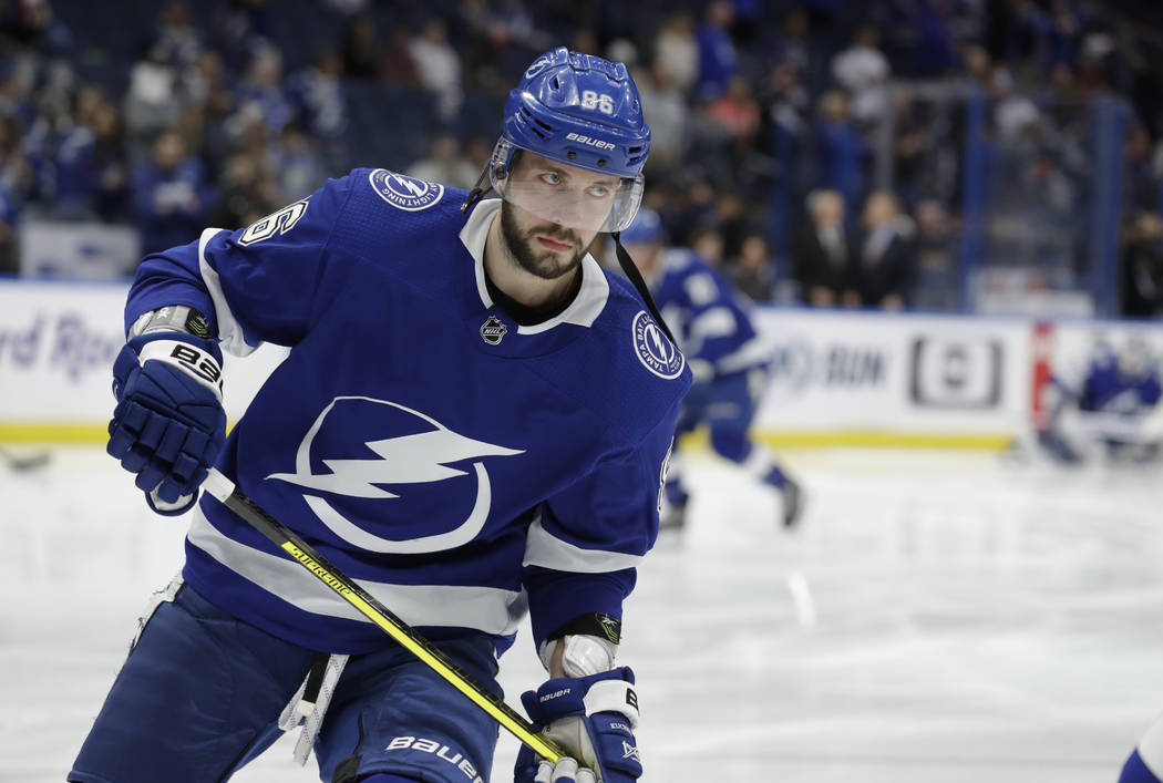 Tampa Bay Lightning right wing Nikita Kucherov (86) before an NHL hockey game against the New York Rangers Monday, Dec. 10, 2018, in Tampa, Fla. (AP Photo/Chris O'Meara)