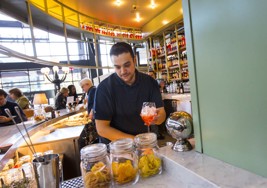 Bartender Patrick McCoy prepares a drink at L'Aperitivo before the ribbon cutting ceremony for Eataly at Park MGM in Las Vegas on Thursday, Dec. 27, 2018. Chase Stevens Las Vegas Review-Journal @c ...