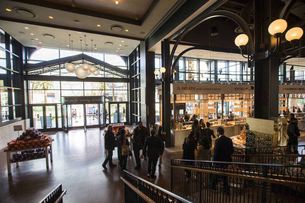 People explore Eataly before the ribbon cutting ceremony at Park MGM in Las Vegas on Thursday, Dec. 27, 2018. Chase Stevens Las Vegas Review-Journal @csstevensphoto