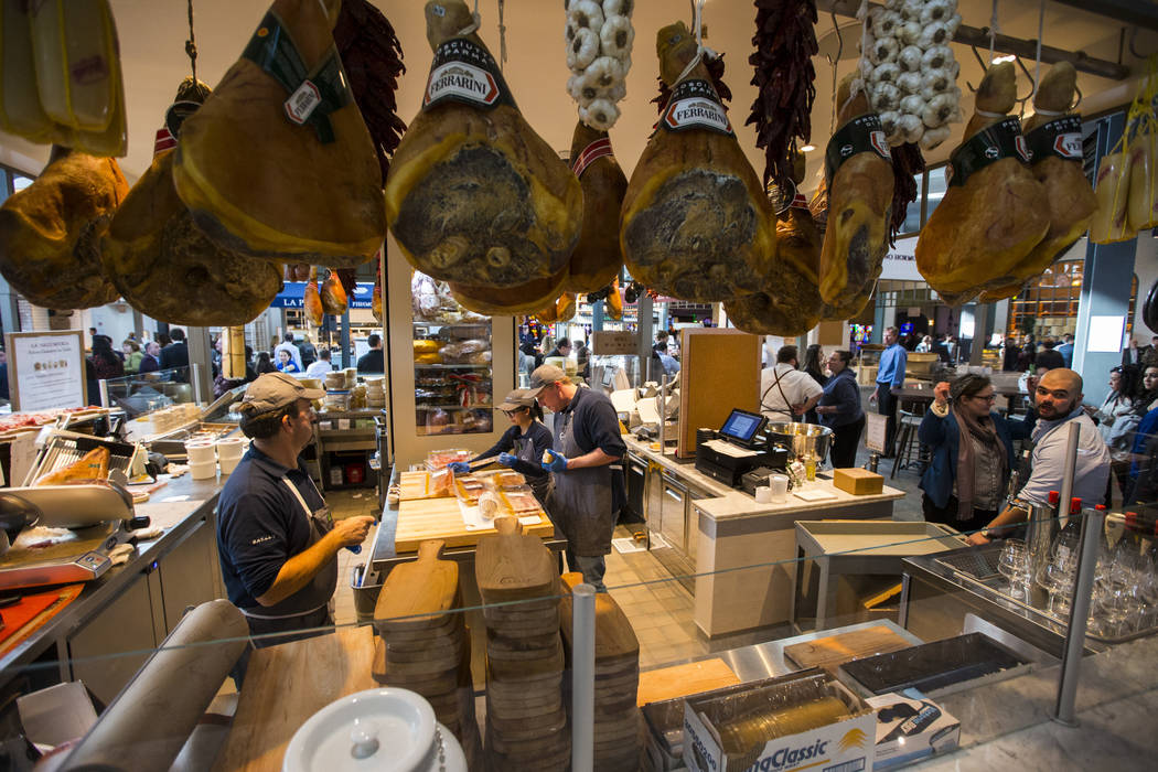 Food is prepared at La Salumeria before the ribbon cutting ceremony for Eataly at Park MGM in Las Vegas on Thursday, Dec. 27, 2018. Chase Stevens Las Vegas Review-Journal @csstevensphoto