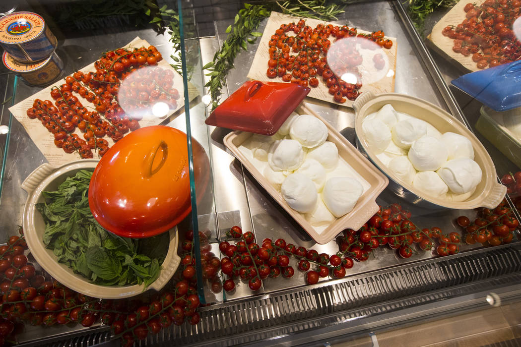 Fresh mozzarella is displayed before the ribbon cutting ceremony for Eataly at Park MGM in Las Vegas on Thursday, Dec. 27, 2018. Chase Stevens Las Vegas Review-Journal @csstevensphoto