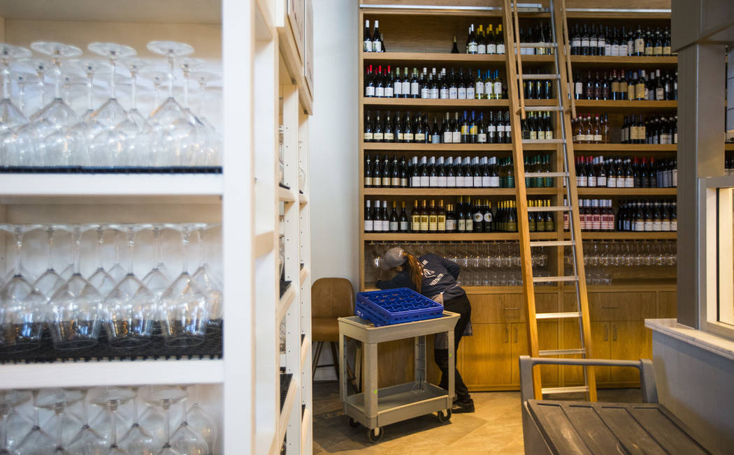 Wine glasses and bottles are stored and set before the ribbon cutting ceremony and grand opening for Eataly at Park MGM in Las Vegas on Thursday, Dec. 27, 2018. Chase Stevens Las Vegas Review-Jour ...