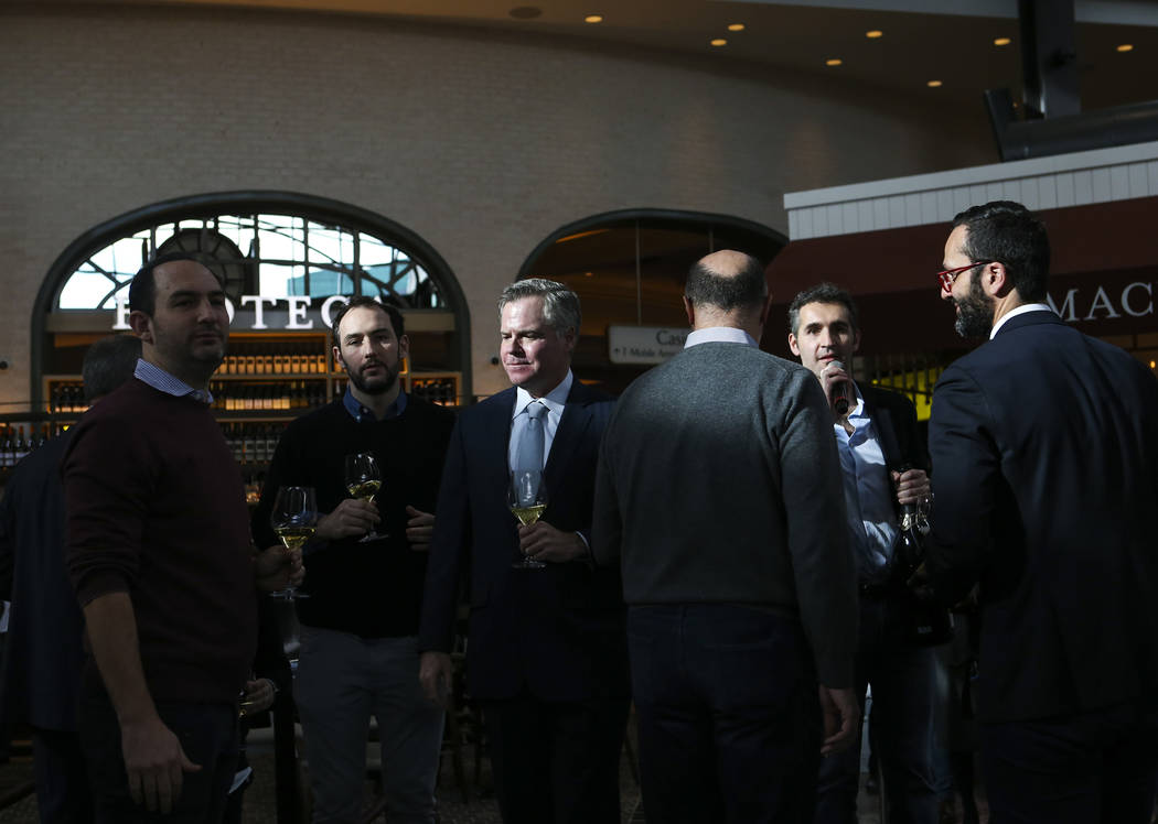 Jim Murren, MGM Resorts CEO and chairman, center left, after the ribbon cutting ceremony for Eataly at Park MGM in Las Vegas on Thursday, Dec. 27, 2018. Chase Stevens Las Vegas Review-Journal @css ...