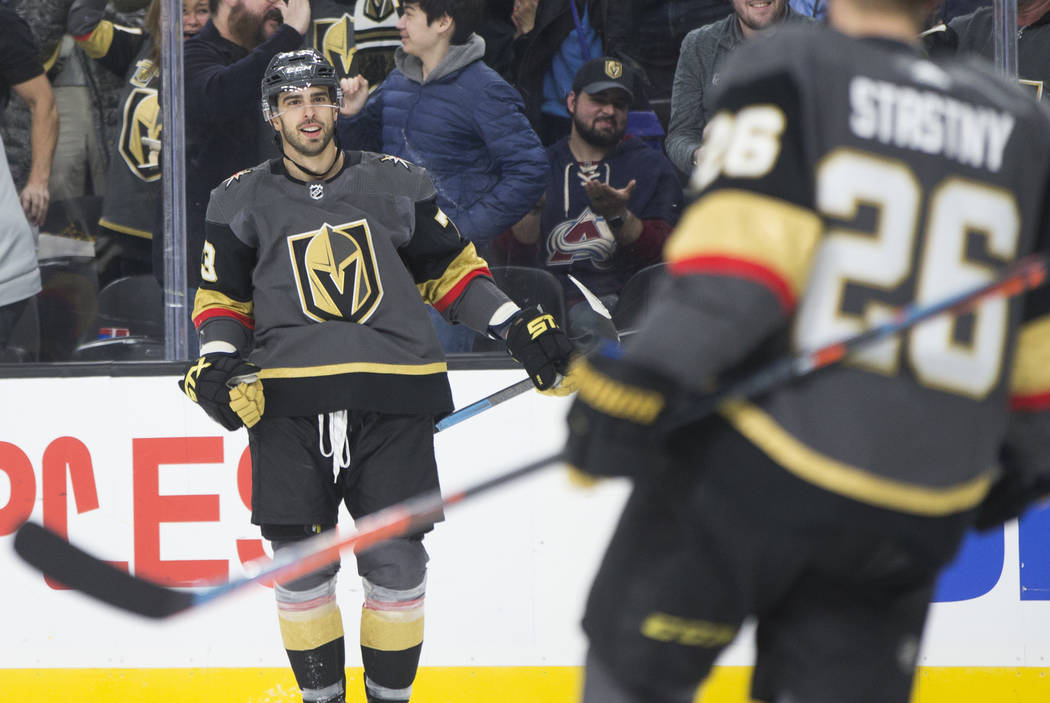 Golden Knights center Brandon Pirri (73) celebrates after scoring a third period goal during Vegas' home matchup with the Colorado Avalanche on Thursday, Dec. 27, 2018, at T-Mobile Arena, in Las V ...