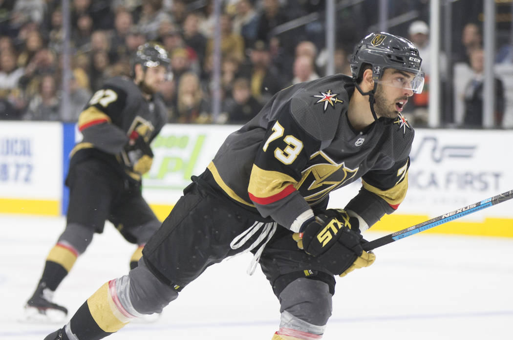 Golden Knights center Brandon Pirri (73) skates up ice in the third period during Vegas' home matchup with the Colorado Avalanche on Thursday, Dec. 27, 2018, at T-Mobile Arena, in Las Vegas. Benja ...