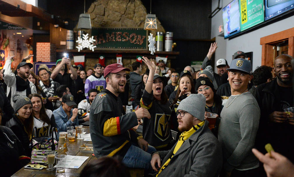 People at a party for the release of Ryan Reaves' new beer, Training Day, cheer during a raffle giveaway at PKWY Tavern Flamingo in Las Vegas, Thursday, Dec. 27, 2018. Caroline Brehman/Las Vegas R ...
