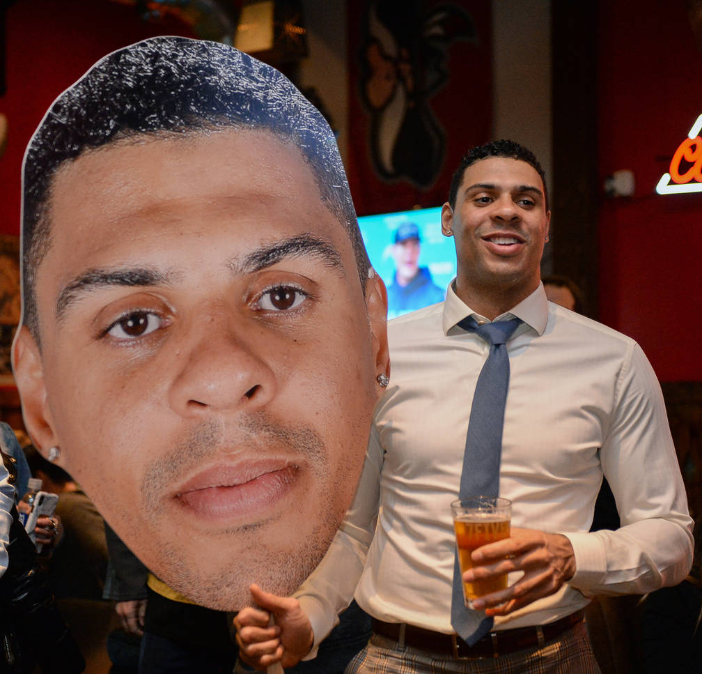 Vegas Golden Knights player Ryan Reaves holds up a cutout of himself at a party for the release of his new beer, Training Day, at PKWY Tavern Flamingo in Las Vegas, Thursday, Dec. 27, 2018. Caroli ...