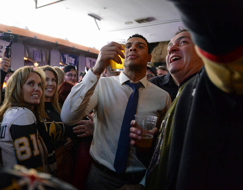 Ryan Reaves poses for photographs with fans at a party for the release of his new beer, Training Day, at PKWY Tavern Flamingo in Las Vegas, Thursday, Dec. 27, 2018. Caroline Brehman/Las Vegas Revi ...