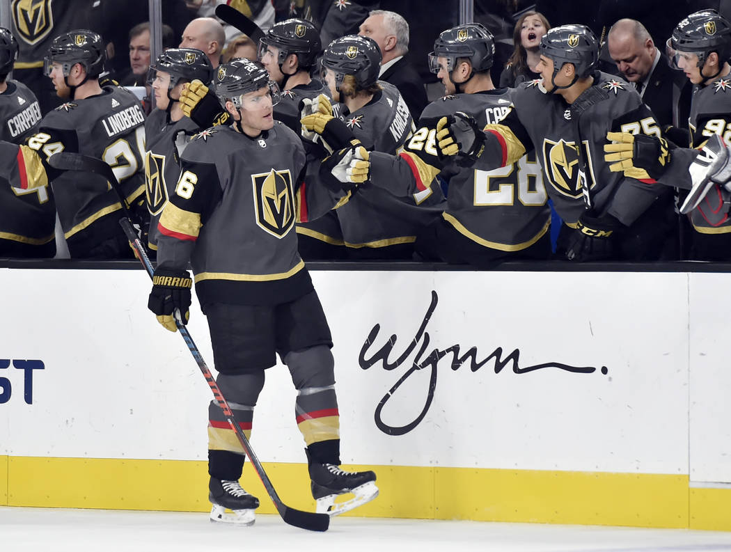 Vegas Golden Knights center Paul Stastny (26) fist bumps his teammates after scoring against the Colorado Avalanche during the first period of an NHL hockey game Thursday, Dec. 27, 2018, in Las Ve ...