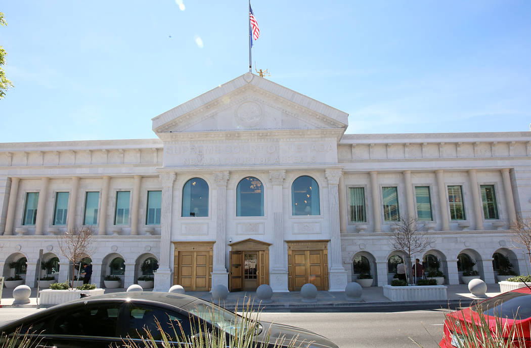 The new Nevada Supreme Court building on Clark and Fourth Street on Friday, March 24, 2017, in Las Vegas. (Bizuayehu Tesfaye/Las Vegas Review-Journal) @bizutesfaye