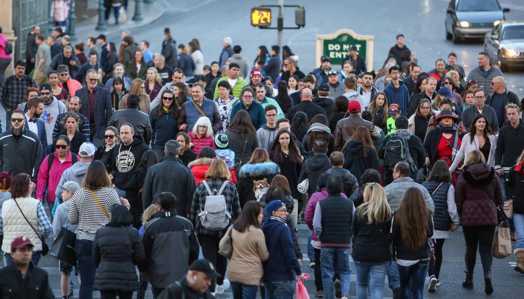 Large numbers of people crowd the Strip in Las Vegas, Sunday, Dec. 30, 2018. Caroline Brehman/Las Vegas Review-Journal