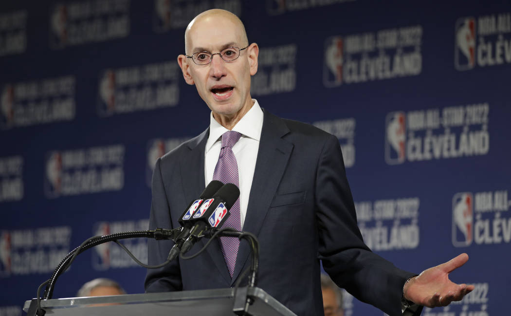 This Nov. 1, 2018 file photo shows, NBA Commissioner Adam Silver announcing that the Cleveland Cavaliers will host the 2022 NBA All Star game in Cleveland. (AP Photo/Tony Dejak, File)
