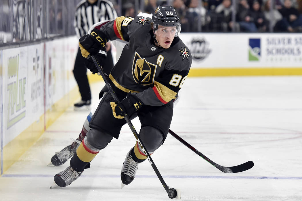 cf690e1d137 Vegas Golden Knights defenseman Nate Schmidt skates with the puck against  the Colorado Avalanche during the