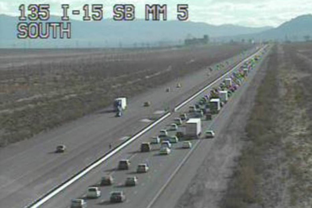 The Regional Transportation Commission reported there is a 14-mile backup on Interstate 15 heading southbound at the Nevada-California state line, and motorists should expect long delays.