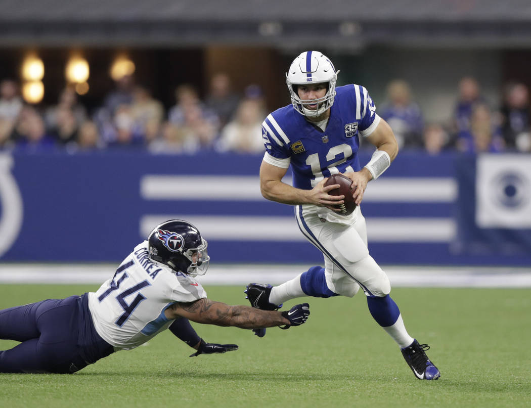Indianapolis Colts quarterback Andrew Luck (12) runs past Tennessee Titans' Kamalei Correa (44) during the second half of an NFL football game, Sunday, Nov. 18, 2018, in Indianapolis. (AP Photo/Mi ...