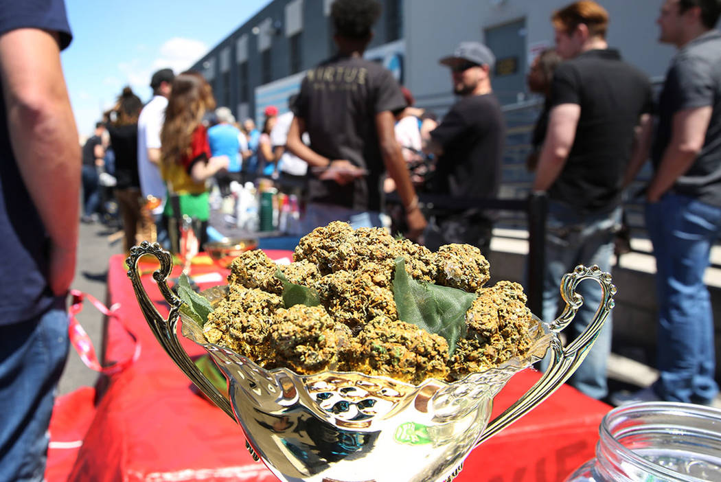 A bowl of marijuana is displayed as customers lined up to enter Reef Dispensaries at 3400 W. Ave., during the national marijuana holiday of 4/20 on Friday, April 20, 2018, in Las Vegas. Bizuayehu ...