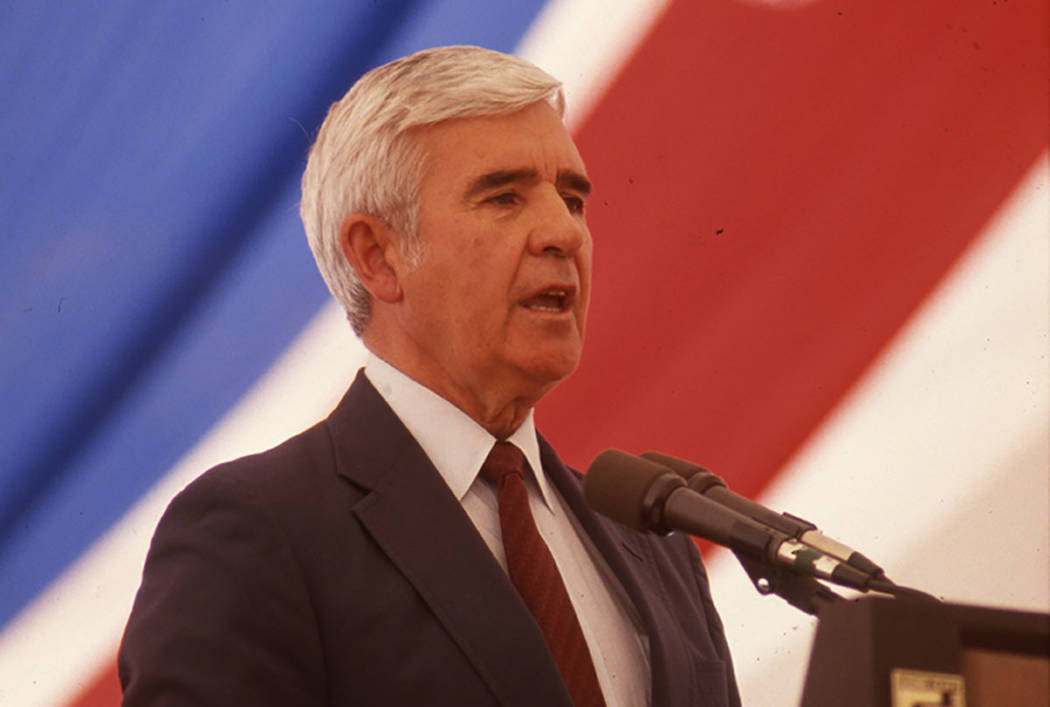Dedication of Nevada's first national park, the 71,900-acre Great Basin National Park. It officially became a park in October of 1986. This image is of former United States Senator Paul Laxalt spe ...