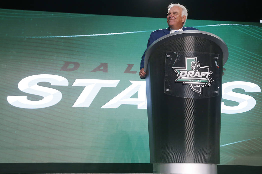 In this June 22, 2018, file photo, Dallas Stars CEO Jim Lites speaks during the NHL hockey draft in Dallas. (AP Photo/Michael Ainsworth, File)