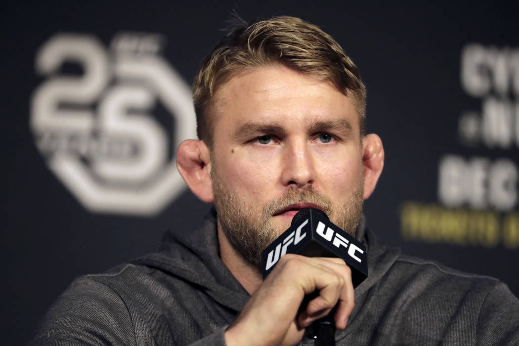 Alexander Gustafsson speaks during a news conference about his light heavyweight mixed martial arts bout against Jon Jones, Friday, Nov. 2, 2018, at Madison Square Garden in New York. The two will ...