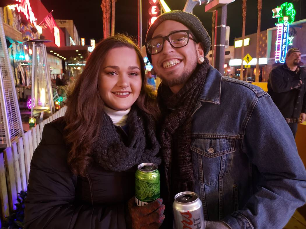 Ignacio Perez and Jordan Burns outside Evel Pie in downtown Las Vegas on Monday, Dec. 31, 2018. (Shea Johnson/Las Vegas Review-Journal)