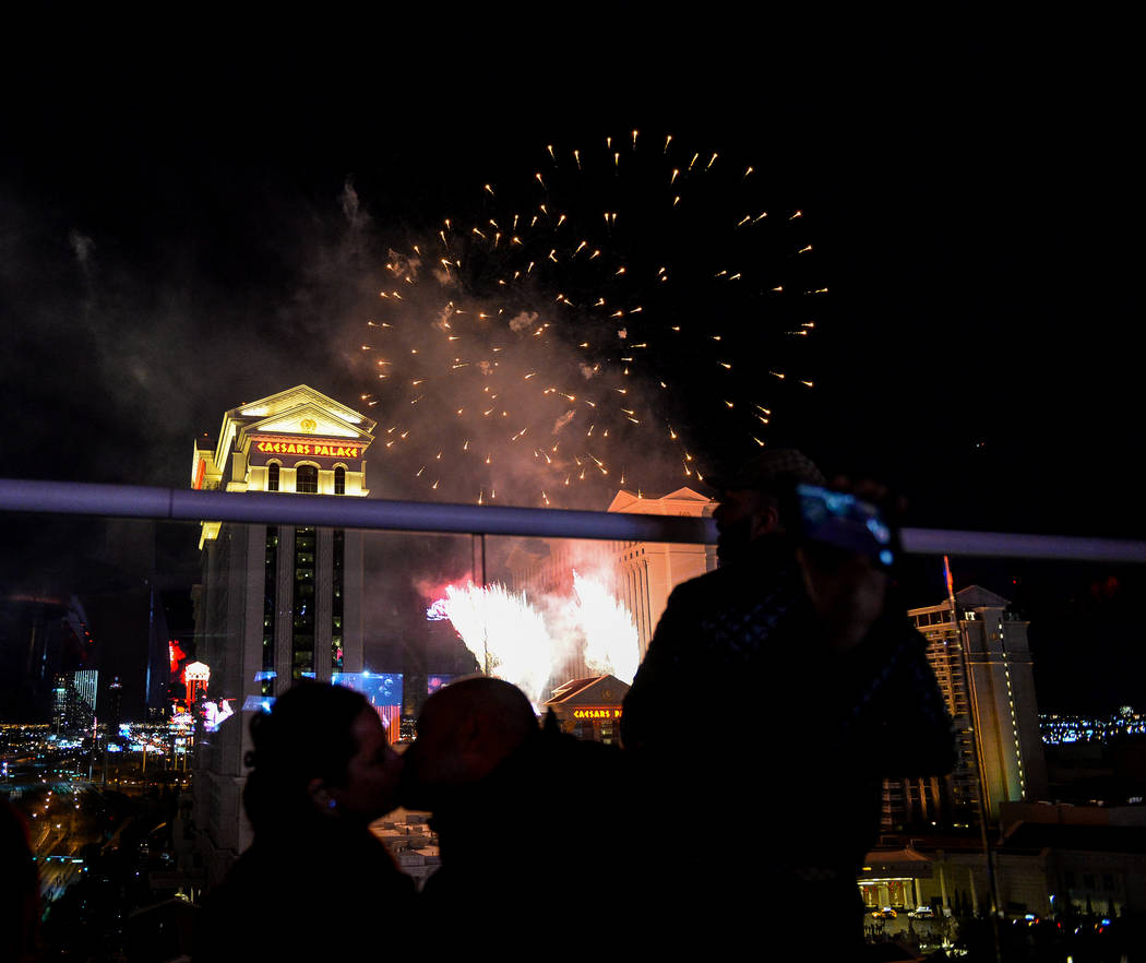 Fireworks go off for the New Year as seen from Drai's Nightclub on the Strip in Las Vegas, Tuesday, Jan. 1, 2019. Caroline Brehman/Las Vegas Review-Journal