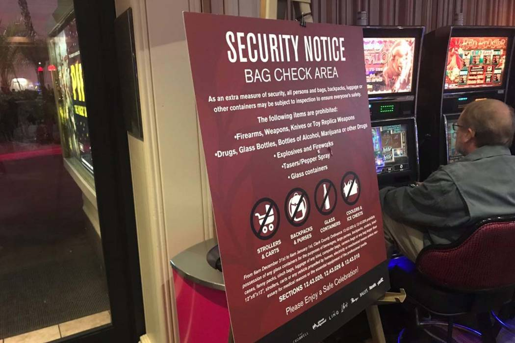 A sign at a Strip casino warning guests of prohibited items during New Year's Eve celebrations on Monday, Dec. 31, 2018. (Amelia Pak-Harvey/Las Vegas Review-Journal)