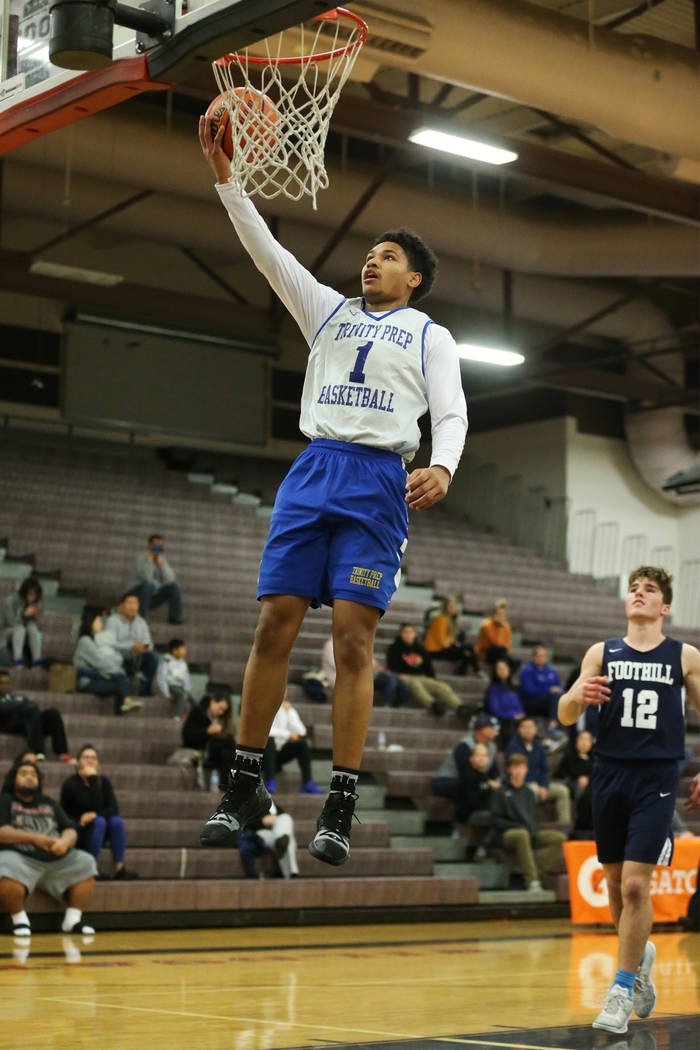 Trinity's Daishen Nix (1) jumps for a layup and a score against Foothill in the Las Vegas Prep Championship seminal game at Las Vegas High School in Las Vegas, Friday, Dec. 28, 2018. Trinity won 8 ...