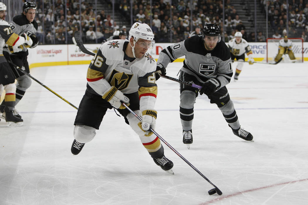 Vegas Golden Knights center Paul Stastny (26) is pursued by Los Angeles Kings center Michael Amadio (10) during the second period of an NHL hockey game Sunday, Dec. 23, 2018, in Las Vegas. (AP Pho ...