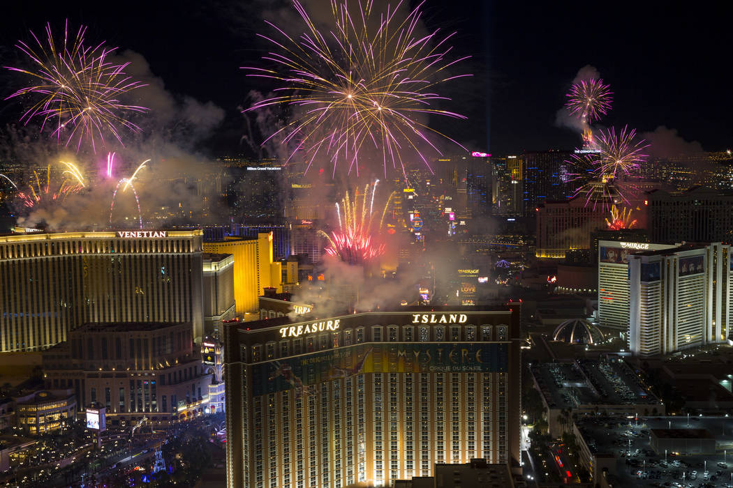 New Year's fireworks are seen along the Las Vegas Strip from the top of the Trump International, ringing in the entrance of 2018. (Richard Brian/Las Vegas Review-Journal) @vegasphotograph