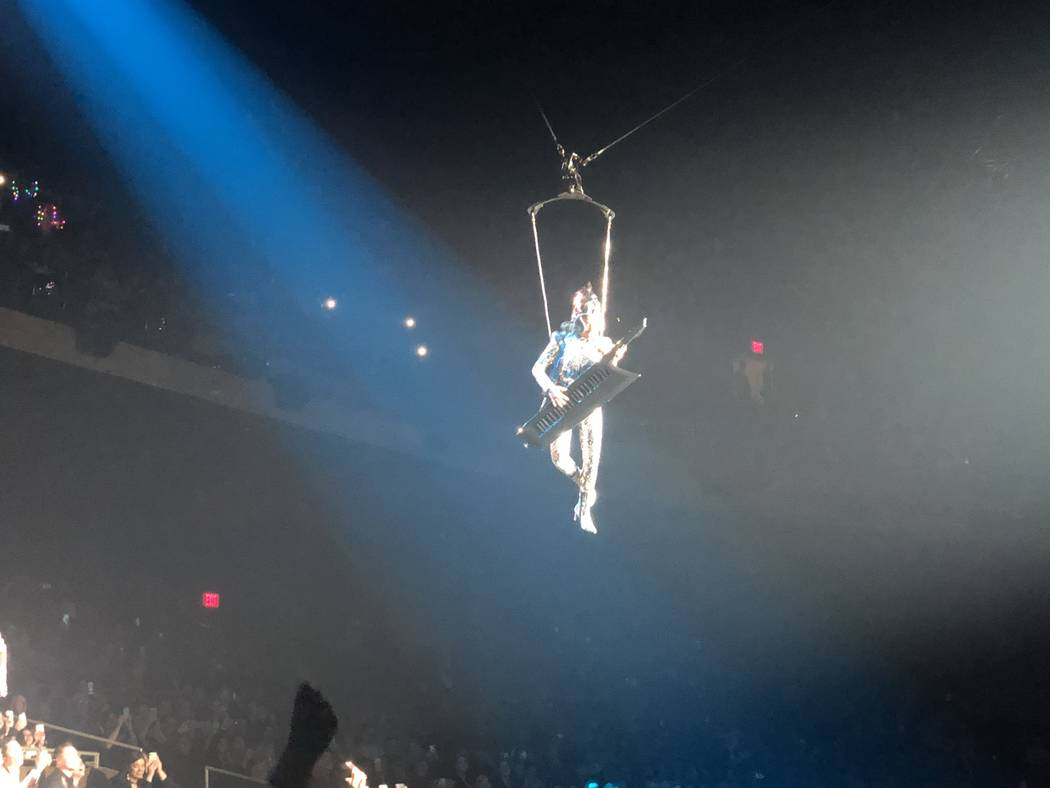 Lady Gaga's high-altitude arrival at the Park Theater on Friday, Dec. 28, 2018. (John Katsilometes/Las Vegas Review-Journal) @JohnnyKats