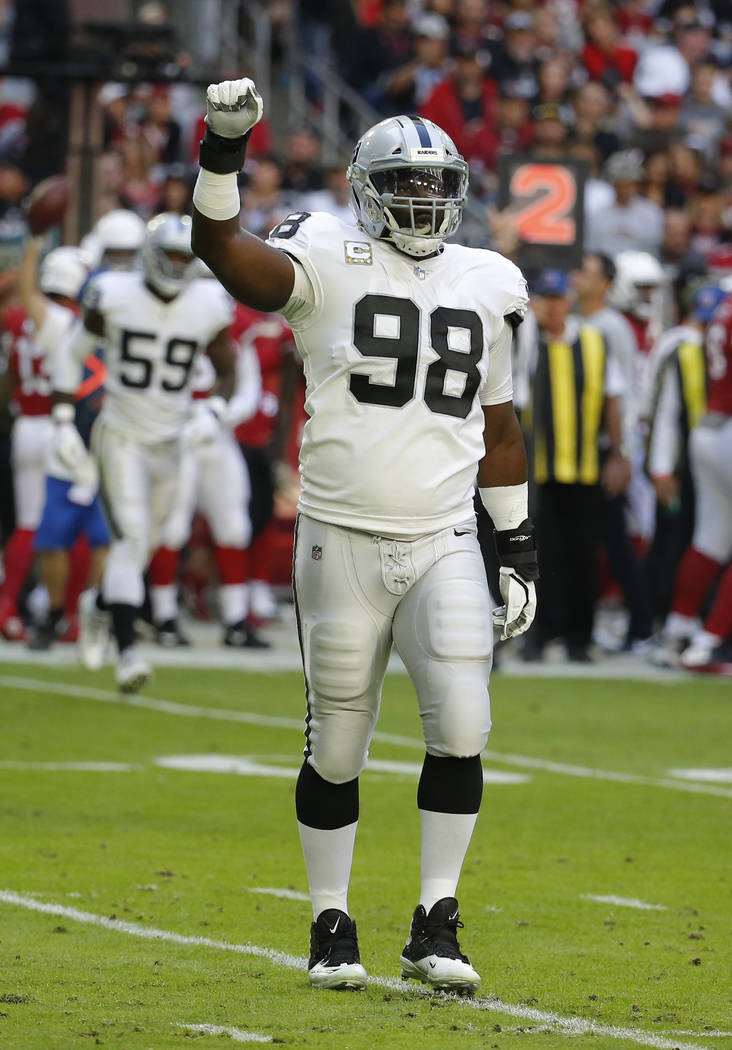 Oakland Raiders defensive end Frostee Rucker (98) during an NFL football game against the Arizona Cardinals, Sunday, Nov. 18, 2018, in Glendale, Ariz. (AP Photo/Rick Scuteri)