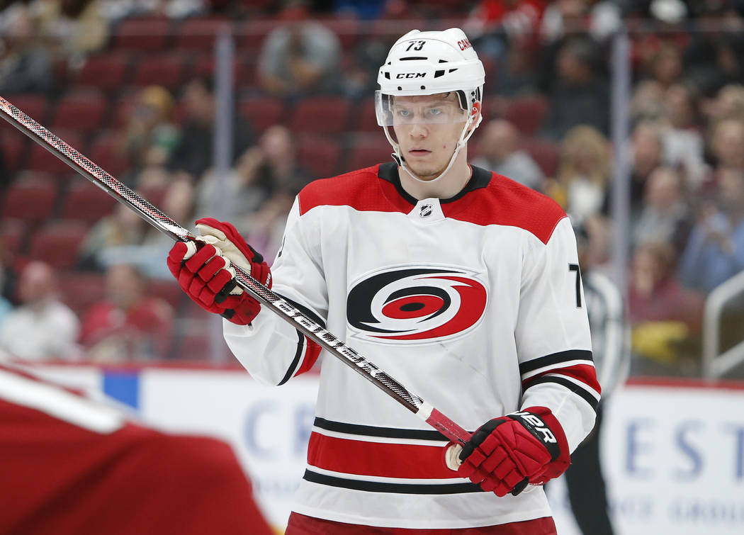 Carolina Hurricanes left wing Valentin Zykov (73) during an NHL hockey game against the Arizona Coyotes, Friday, Nov. 2, 2018, in Glendale, Ariz. Arizona defeated Carolina 4-3. (AP Photo/Rick Scuteri)