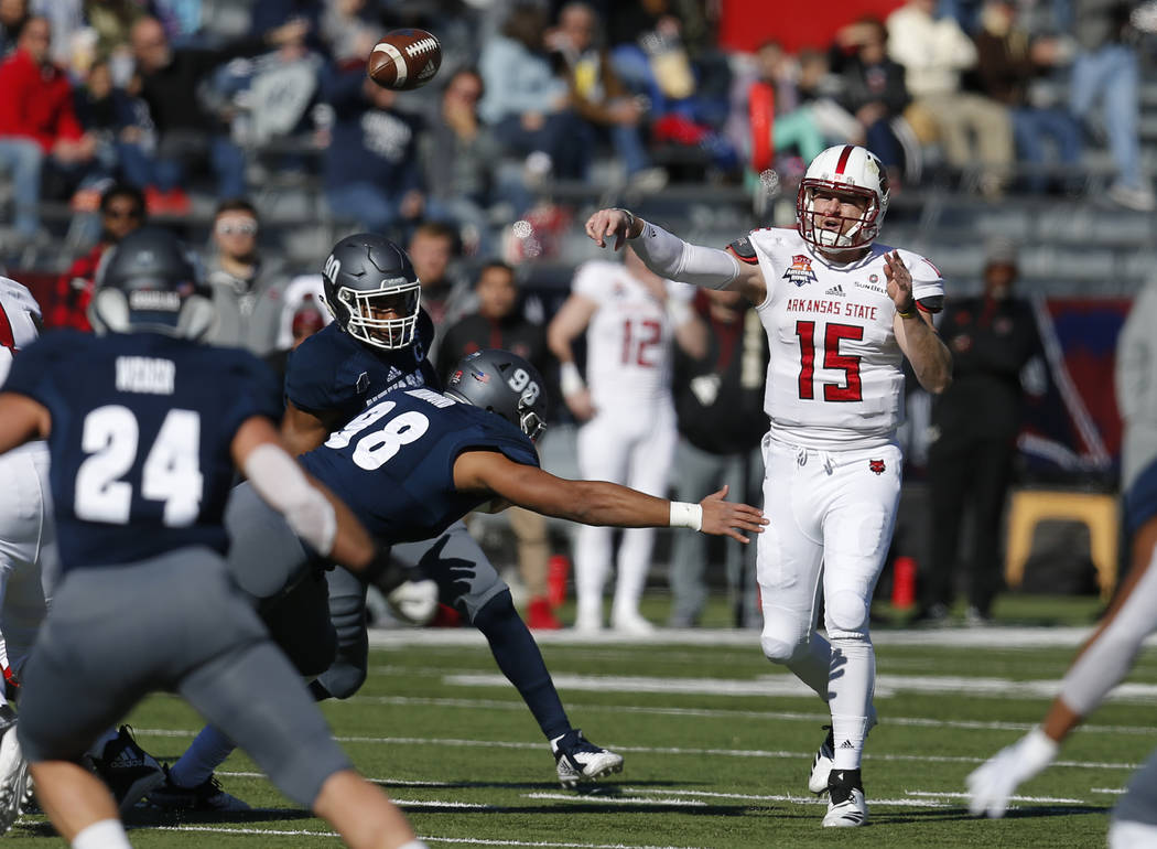 Arkansas State quarterback Justice Hansen (15) throws down field in the first half during an NCAA college football bowl game against UNR, Saturday, Dec. 29, 2018, in Tucson, Ariz. (AP Photo/Rick S ...