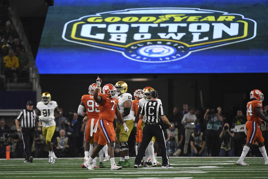Clemson defensive end Austin Bryant (7) celebrates a stop in the second half of the NCAA Cotton Bowl semi-final playoff football game against Notre Dame on Saturday, Dec. 29, 2018, in Arlington, T ...