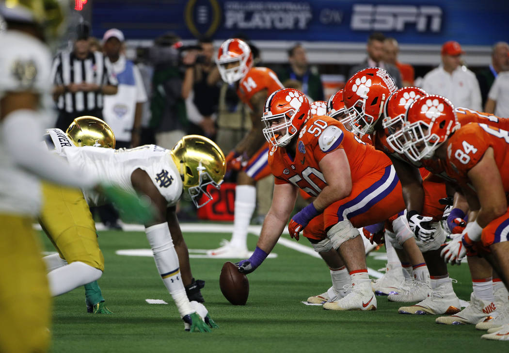 Notre Dame lines up against Clemson in the second half of the NCAA Cotton Bowl semi-final playoff football game, Saturday, Dec. 29, 2018, in Arlington, Texas. (AP Photo/Michael Ainsworth)