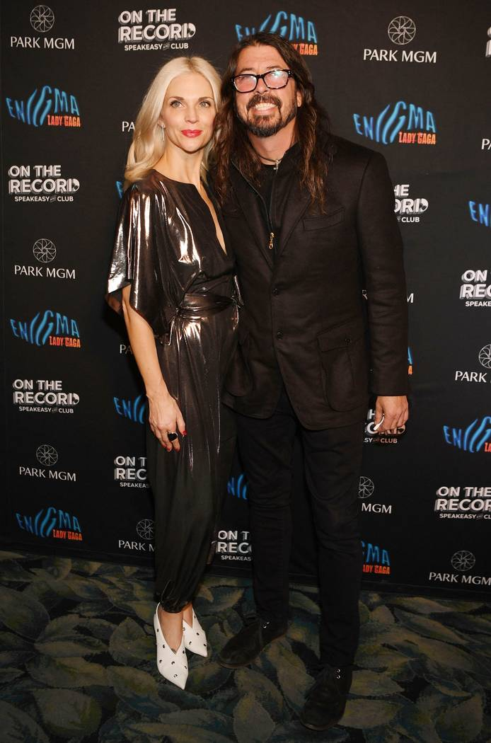 Jordyn Blum and Dave Grohl arrive at Lady Gaga's residency after-party at On The Record Speakeasy And Club at Park MGM .on December 28, 2018 in Las Vegas, Nevada. (Photo by Denise Truscello/Getty ...