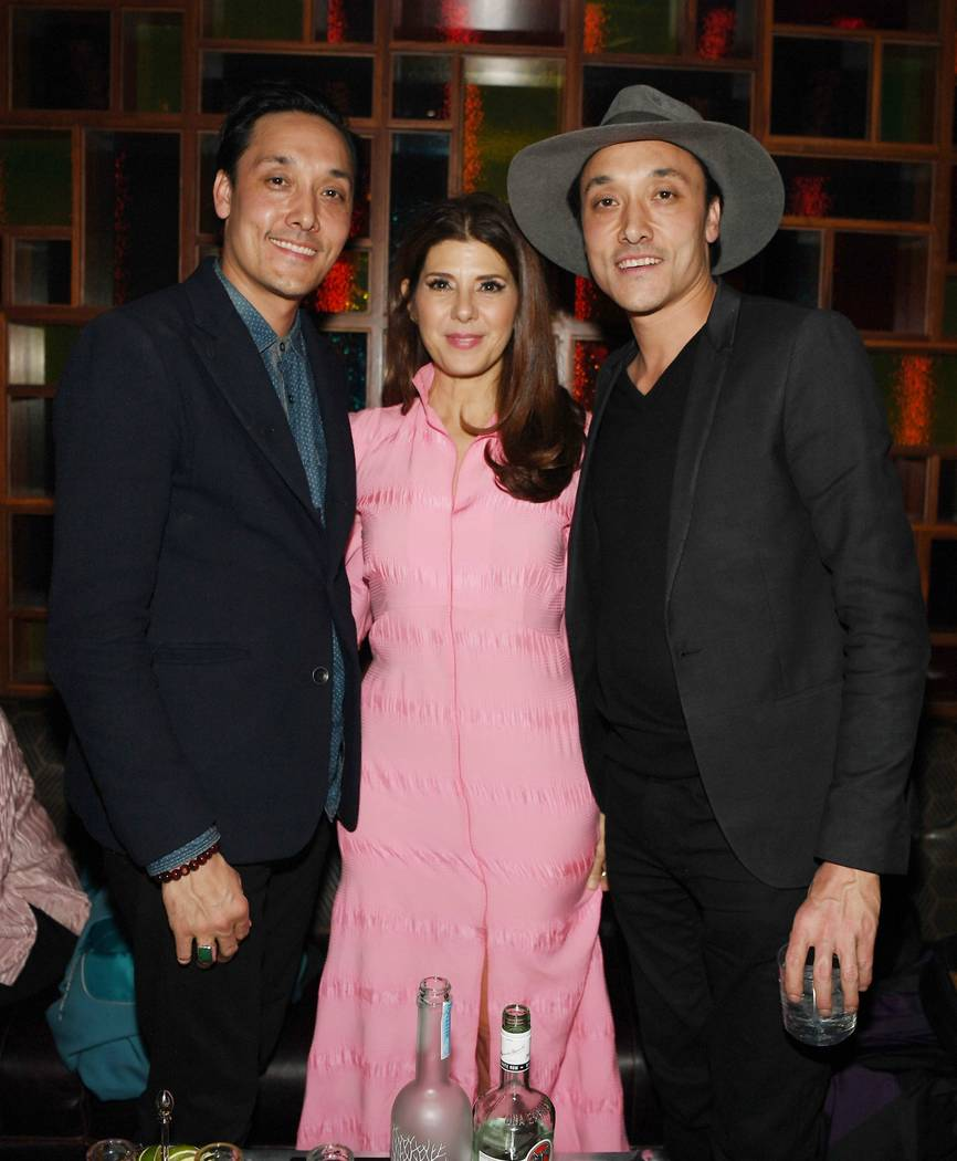 Mark Houston, Marisa Tomei and Jonnie Houston attend Park MGM Grand opening weekend with Lady Gaga residency after-party at On The Record Speakeasy And Club at Park MGM on December 28, 2018 in Las ...
