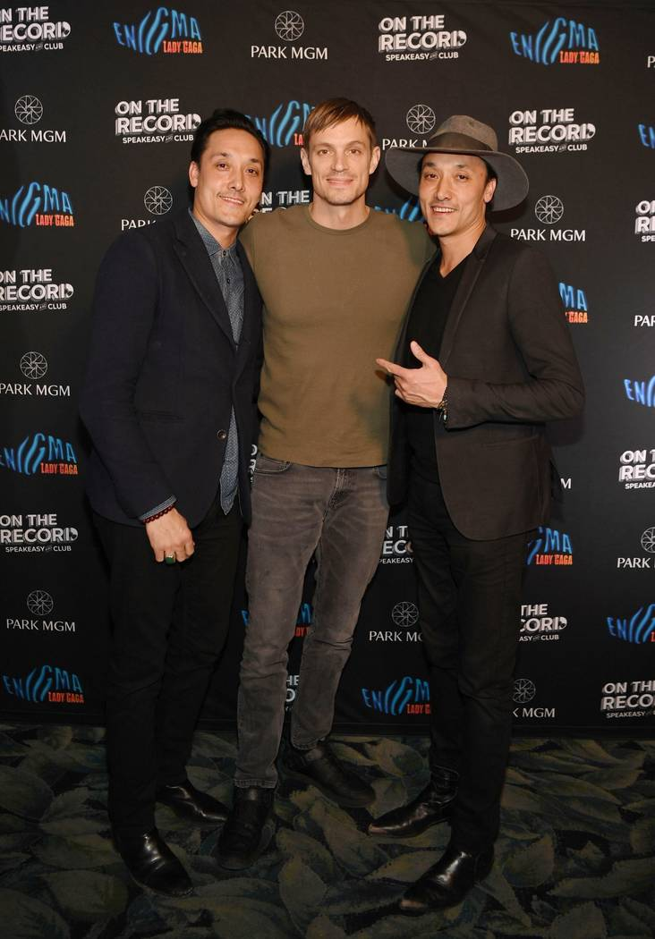 Mark Houston, Joel Kinnaman and Jonnie Houston arrive at Park MGM Grand opening weekend with Lady Gaga residency after-party at On The Record Speakeasy And Club at Park MGM on December 28, 2018 in ...