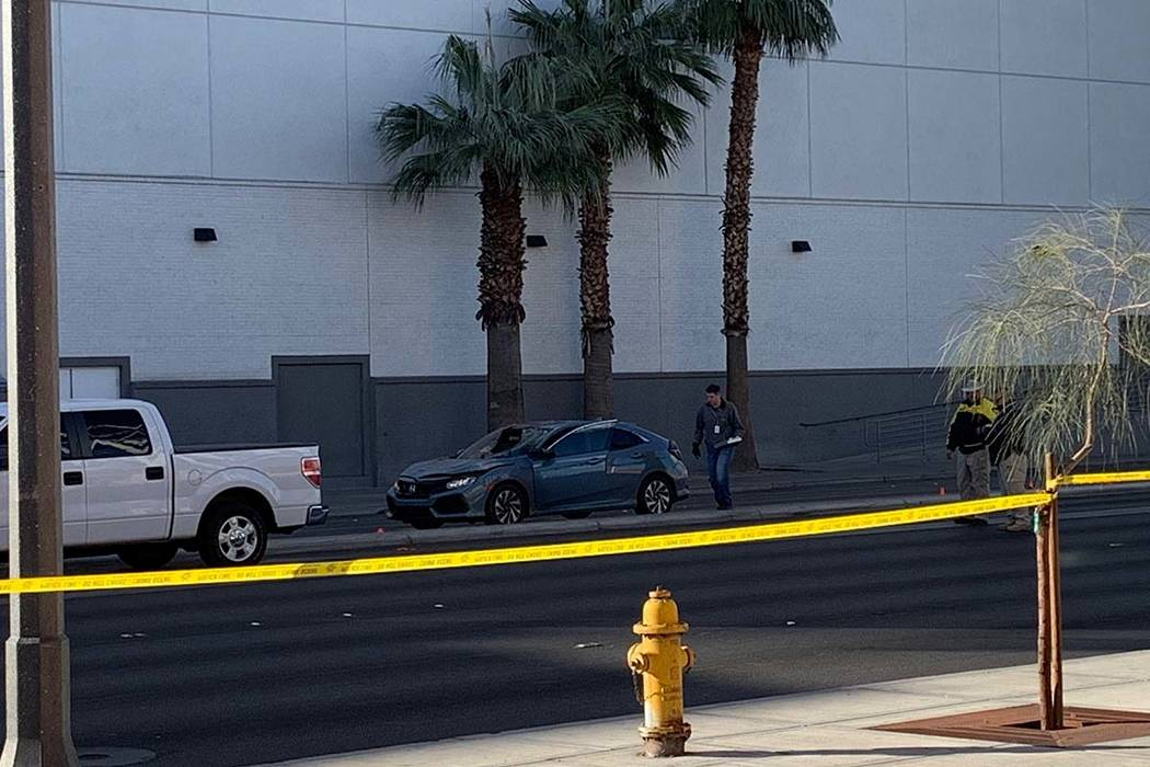 A pedestrian was struck by a car and died on East Sahara Avenue early Sunday morning. (Kimber Laux/Las Vegas Review-Journal)
