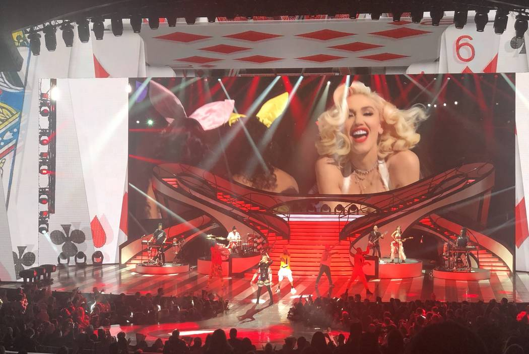 """Zappos Theater at Planet Hollywood headliner Gwen Stefani is shown during her """"Just A Girl"""" production on Saturday, Dec. 29, 2018. (John Katsilometes/Las Vegas-Review Journal) @Johnnykats"""