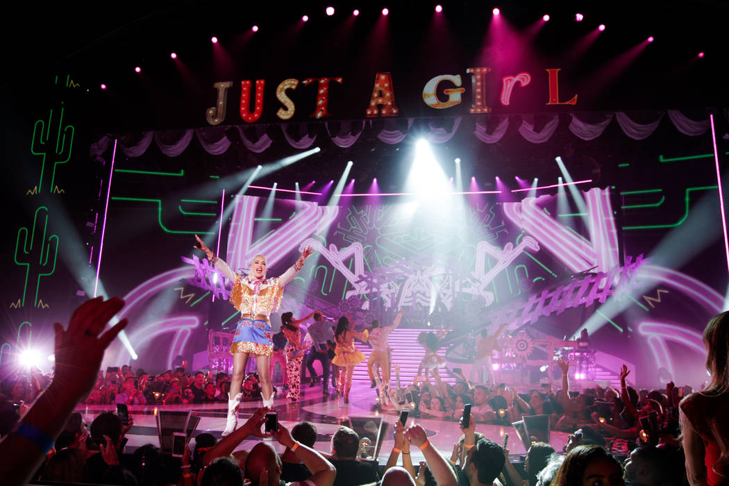 """Zappos Theater at Planet Hollywood headliner Gwen Stefani is shown during her """"Just A Girl"""" production. (Todd Stefani/Robb Dipple)"""