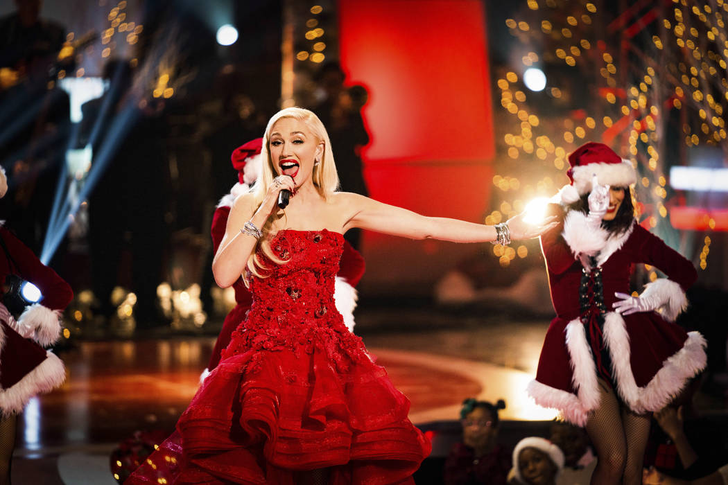 """Zappos Theater at Planet Hollywood headliner Gwen Stefani is shown during """"A Home For The Holidays,"""" which aired Dec. 21, 2018 on CBS. (Idris Erba/CBS)"""