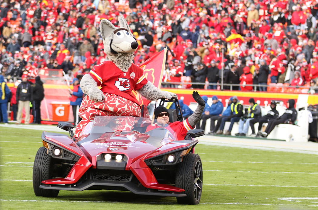 Kansas City Chiefs mascot rides out on Arrowhead Stadium's field before the start of an NFL game against the Oakland Raiders in Kansas City, Mo., Sunday, Dec. 30, 2018. Heidi Fang Las Vegas Review ...