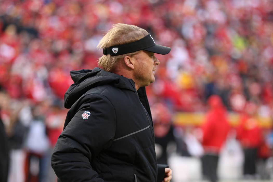 Oakland Raiders head coach Jon Gruden runs on the field before the start of an NFL game against the Kansas City Chiefs in Kansas City, Mo., Sunday, Dec. 30, 2018. Heidi Fang Las Vegas Review-Journ ...
