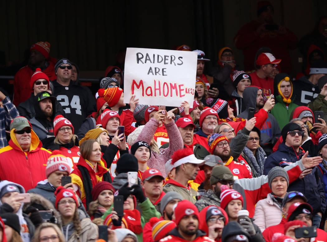 A Kansas City Chiefs fan holds up a sign before the start of an NFL game against the Oakland Raiders in Kansas City, Mo., Sunday, Dec. 30, 2018. Heidi Fang Las Vegas Review-Journal @HeidiFang