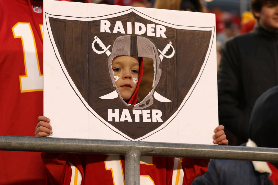A young Kansas City Chiefs fan holds up a sign during the second half of an NFL game against the Oakland Raiders in Kansas City, Mo., Sunday, Dec. 30, 2018. Heidi Fang Las Vegas Review-Journal @He ...