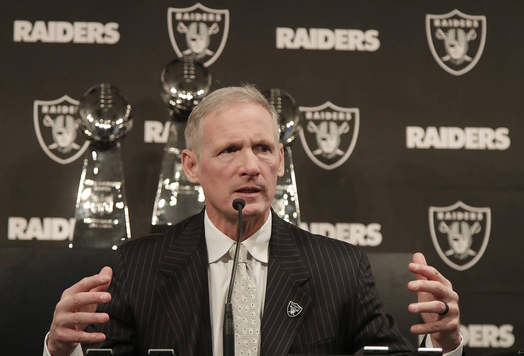 Mike Mayock speaks as at a news conference where he was introduced as the new Oakland Raiders general manager at the team's headquarters in Oakland, Calif., Monday, Dec. 31, 2018. (AP Photo/Jeff Chiu)