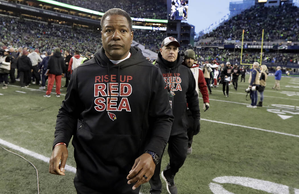 Arizona Cardinals head coach Steve Wilks walks off the field after an NFL football game against the Seattle Seahawks, Sunday, Dec. 30, 2018, in Seattle. The Seahawks won 27-24. (Ted S. Warren/AP)
